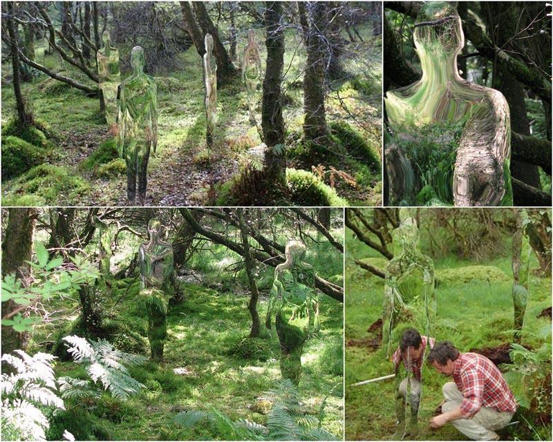BIGPIC15 Скульптуры призраки в шотландском лесу