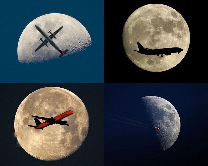 BIGPIC2 Самолеты на фоне луны и солнца