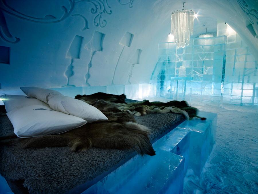Hotel hecho de hielo y nieve en Suecia