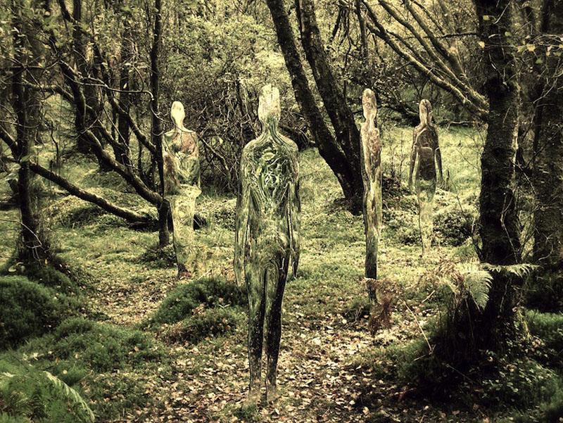 siluetas bosque rob mulholland 05 Скульптуры призраки в шотландском лесу