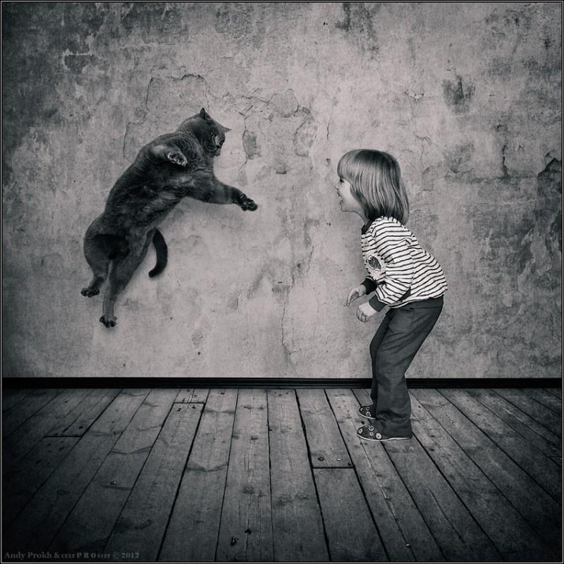 прыжок чемпиона 800x800 Маленькая девочка и кот Том