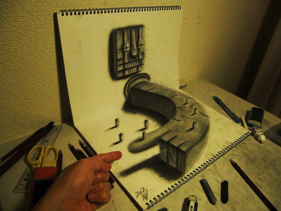 3D 15 Умопомрачительные 3D рисунки на двух листах бумаги