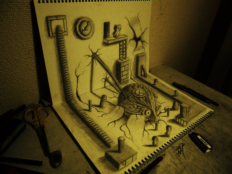 3D 8 Умопомрачительные 3D рисунки на двух листах бумаги