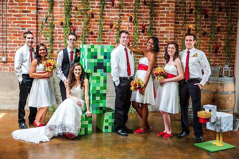 411 Свадьба в стиле игры Minecraft