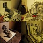 Умопомрачительные 3D рисунки на двух листах бумаги
