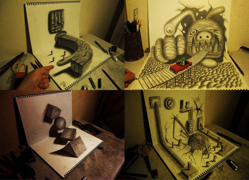 BIGPIC56 Умопомрачительные 3D рисунки на двух листах бумаги