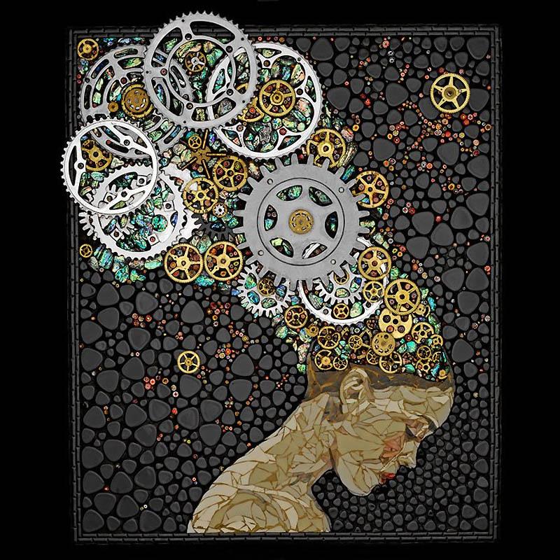 Невероятные мозаики из ключей, деталей часов и других механизмов