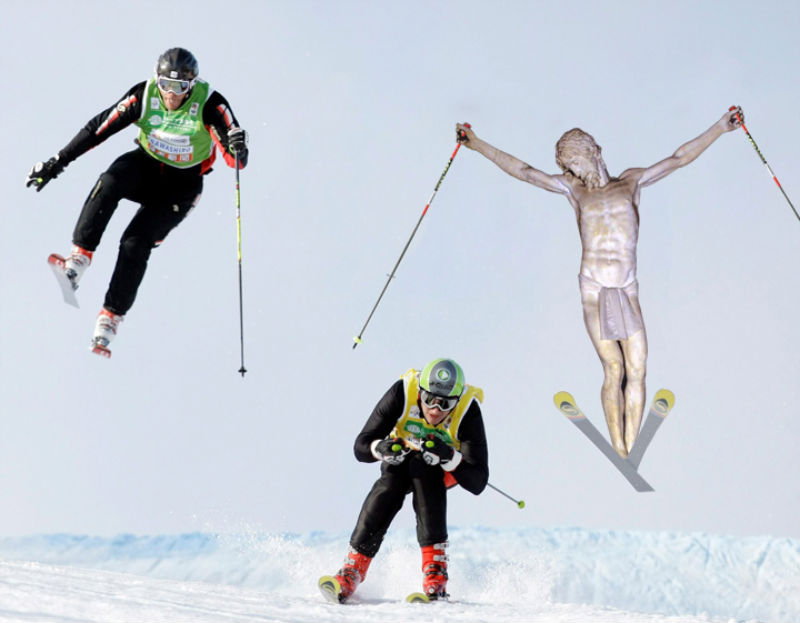 13Jesus Skiing Фотопроект «Иисус повсюду»