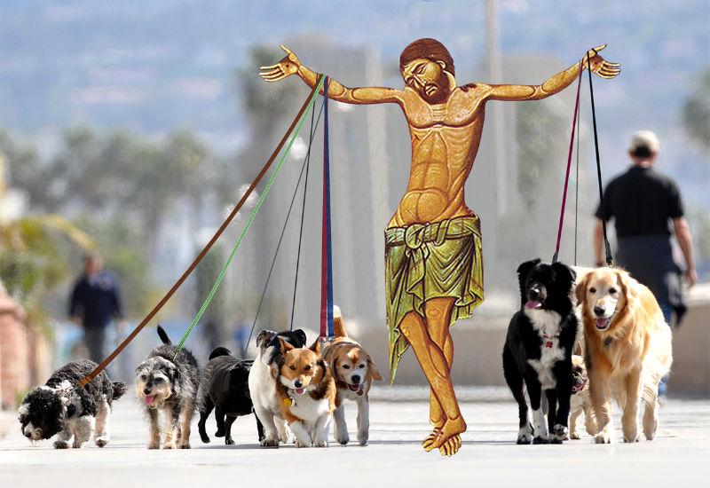 31Jesus Walking Dogs Фотопроект «Иисус повсюду»