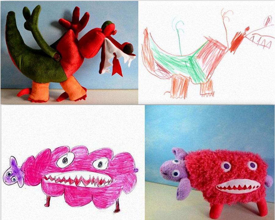 Игрушки Игрушки, сшитые по рисункам детей