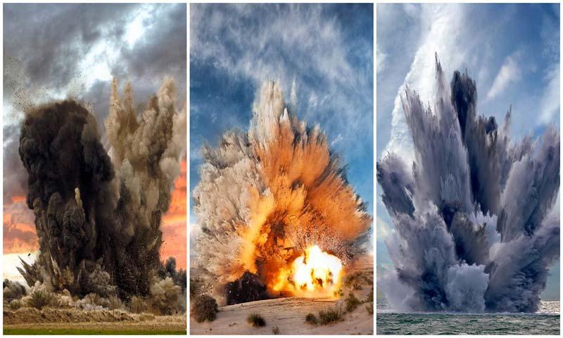 В кадре — взрывы