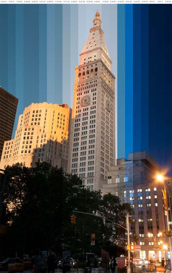 Buildings at Sunset 2 Небоскребы на закате на фото с эффектом таймлапс