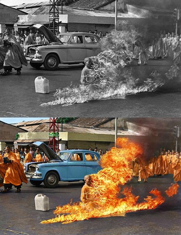Thich Quang Du 1 Знаменитые черно белые фотографии в цвете
