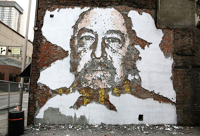 street art portraits 10 Портреты высеченные на стенах