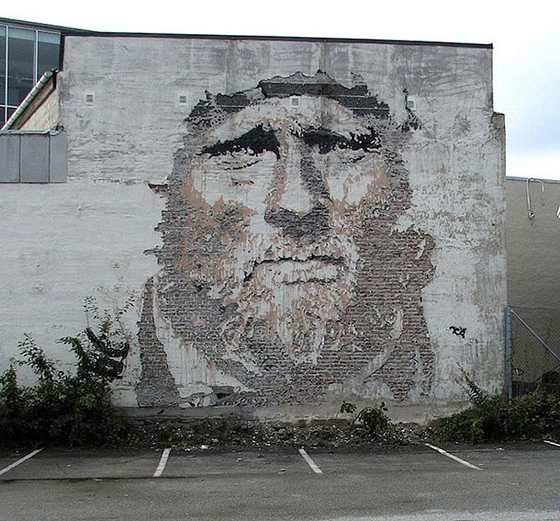 street art portraits 4 Портреты высеченные на стенах