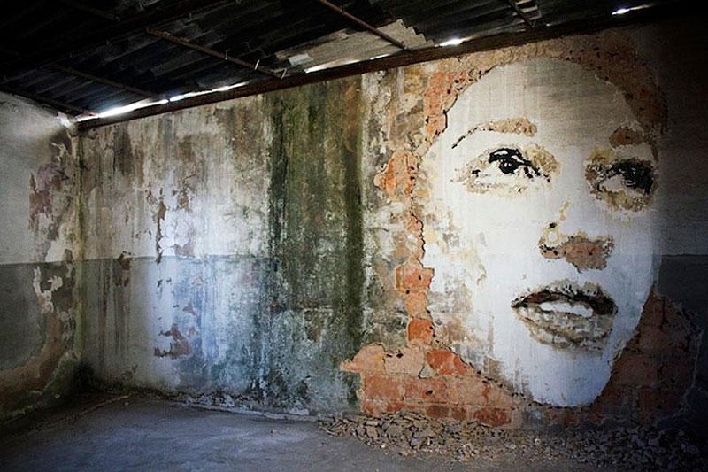 street art portraits 6 Портреты высеченные на стенах