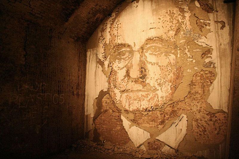 street art portraits 7 Портреты высеченные на стенах