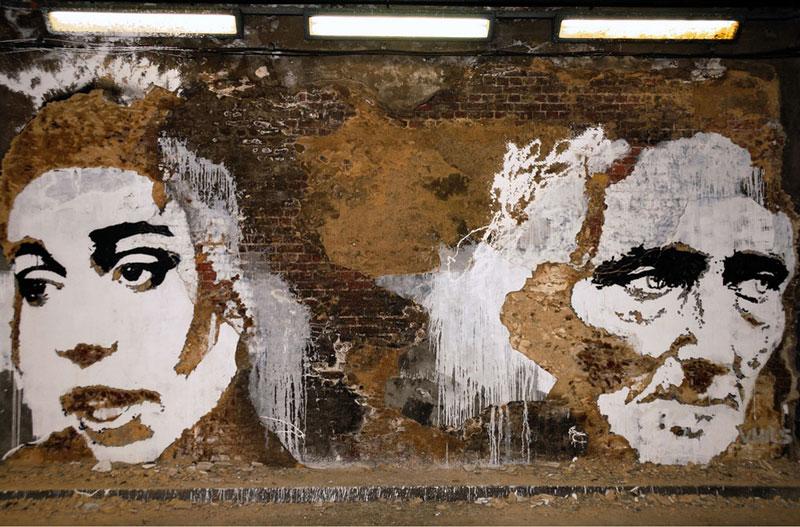 street art portraits 8 Портреты высеченные на стенах