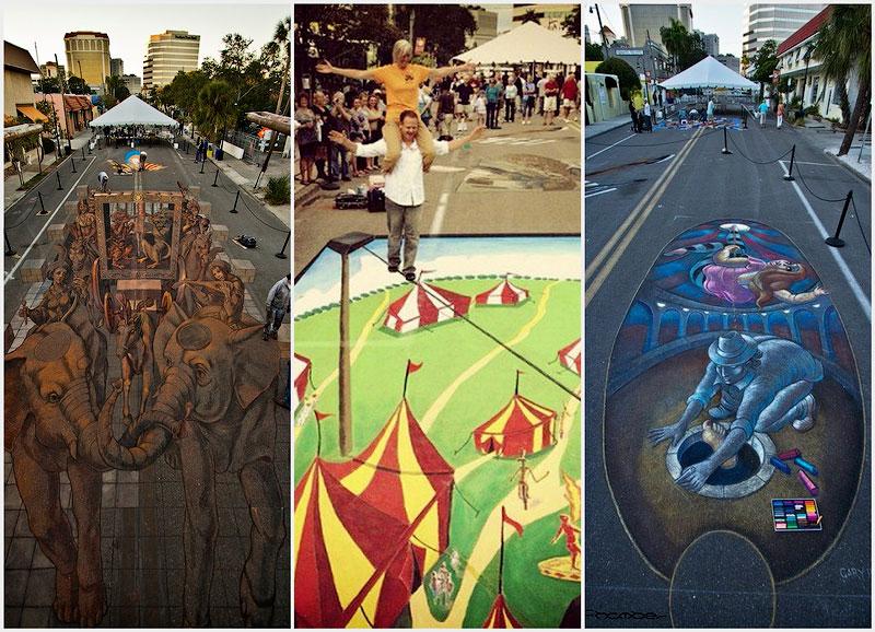 Огромные меловые рисунки на фестивале во Флориде