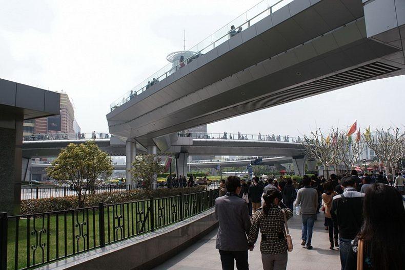 7 Круглый пешеходный мост в Шанхае