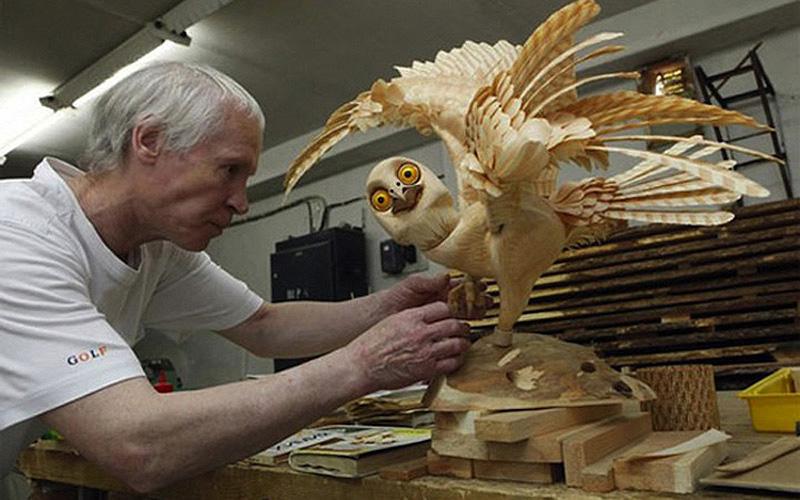 Realistic Siberian Wildlife 14 Скульптуры животных из стружки кедрового дерева