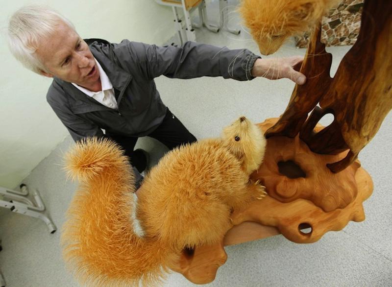 Realistic Siberian Wildlife 5 Скульптуры животных из стружки кедрового дерева