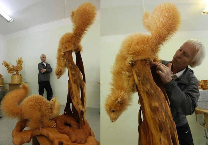 Realistic Siberian Wildlife 7 Скульптуры животных из стружки кедрового дерева