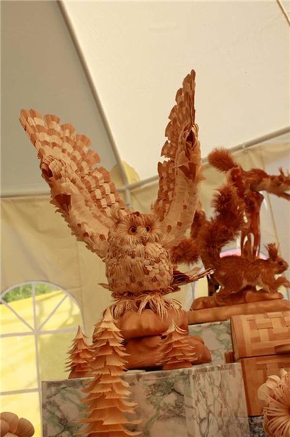 Realistic Siberian Wildlife 8 Скульптуры животных из стружки кедрового дерева