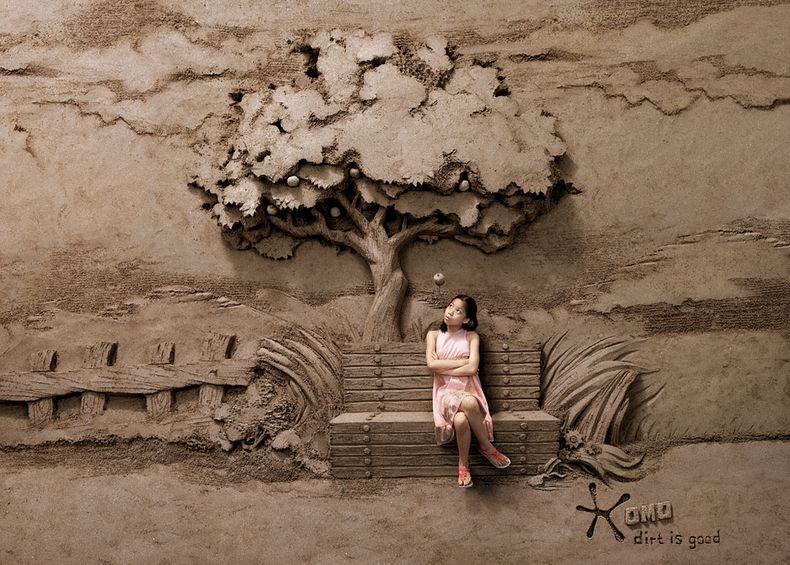 Sandbackdrops1 Удивительные декорации из песка и грязи