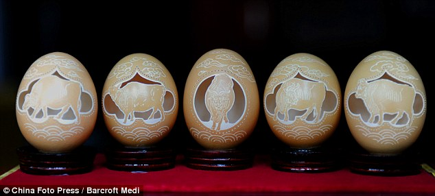 Egg shell carving
