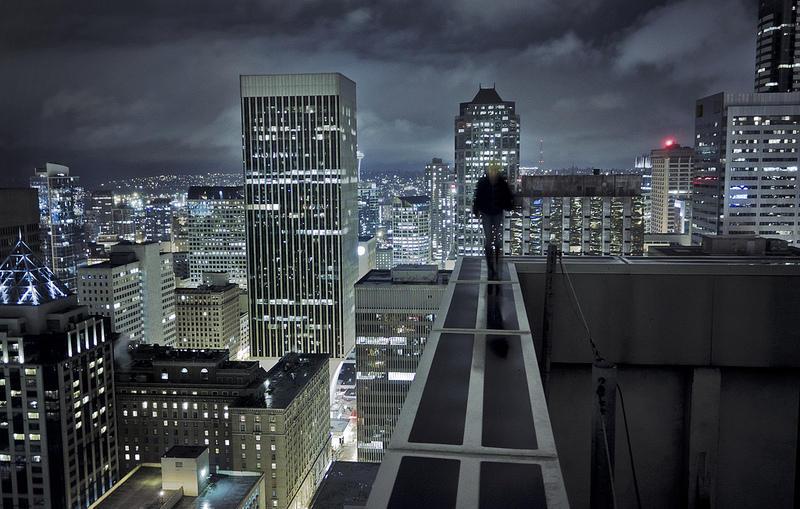Фон ночной город с крыши