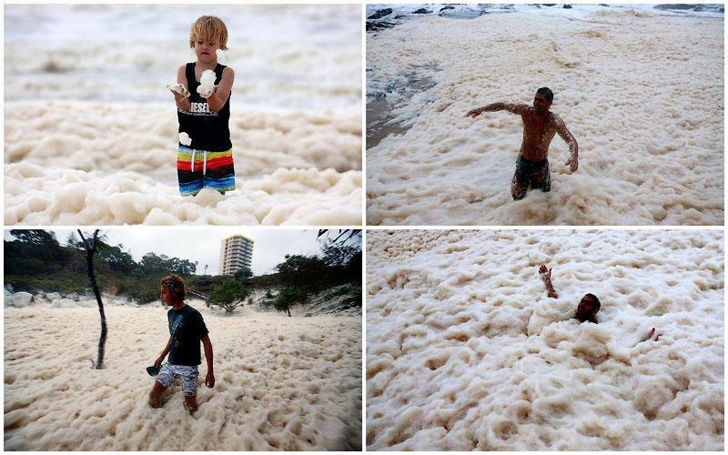 BIGPIC9 Удивительная морская пена на побережье в Австралии