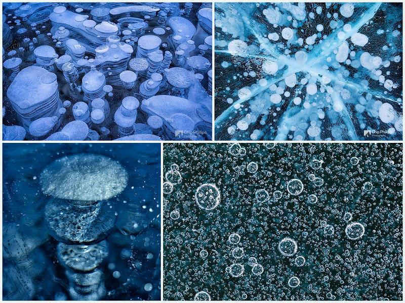 TEMP14 Замерзшие пузырьки воздуха в озере