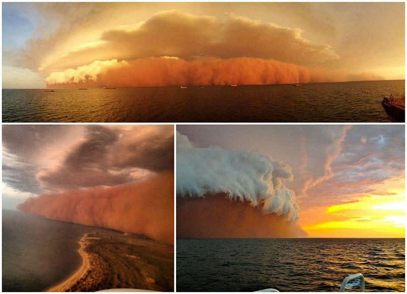 Причудливая пыльная буря на западном побережье Австралии