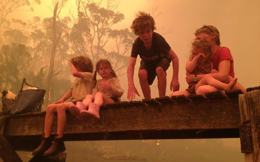 In Australia infire03 family was saved from a fire at sea