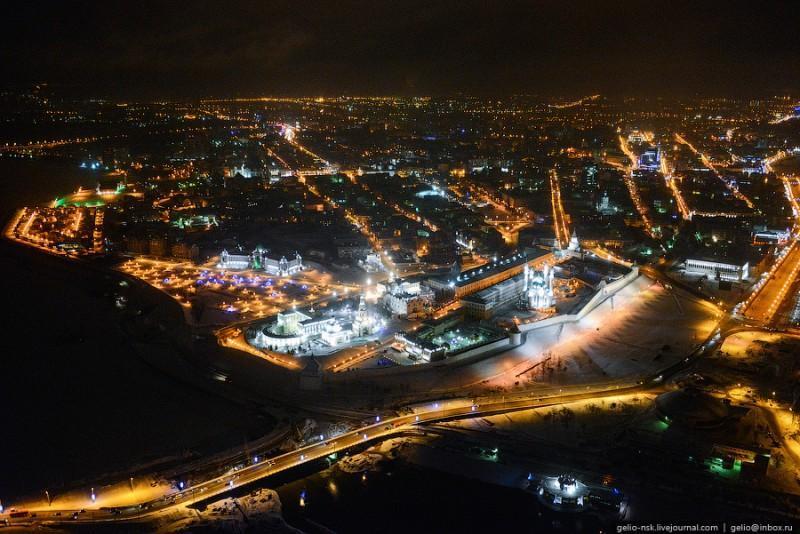 Ночная Казань с вертолета