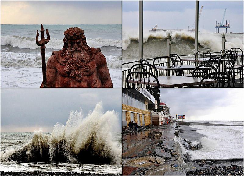 В Сочи штормом разбило центральную набережную