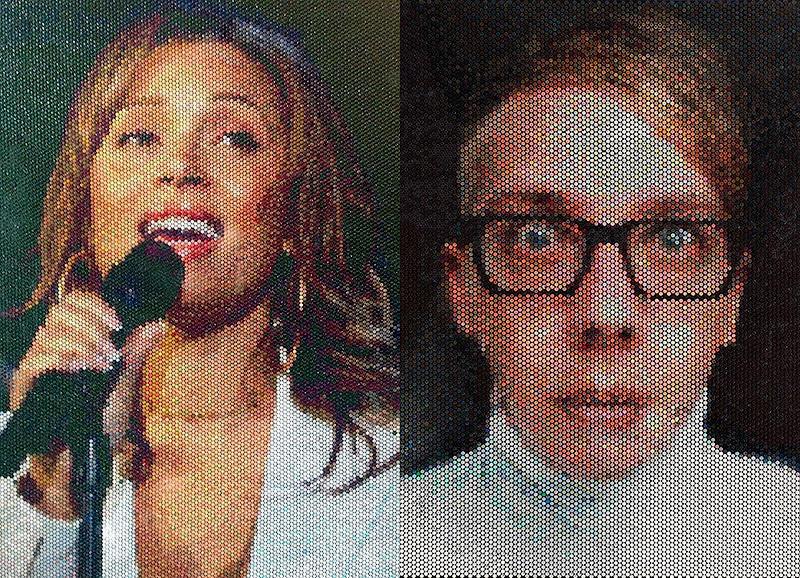 Поразительные пиксельные портреты из упаковочной пленки