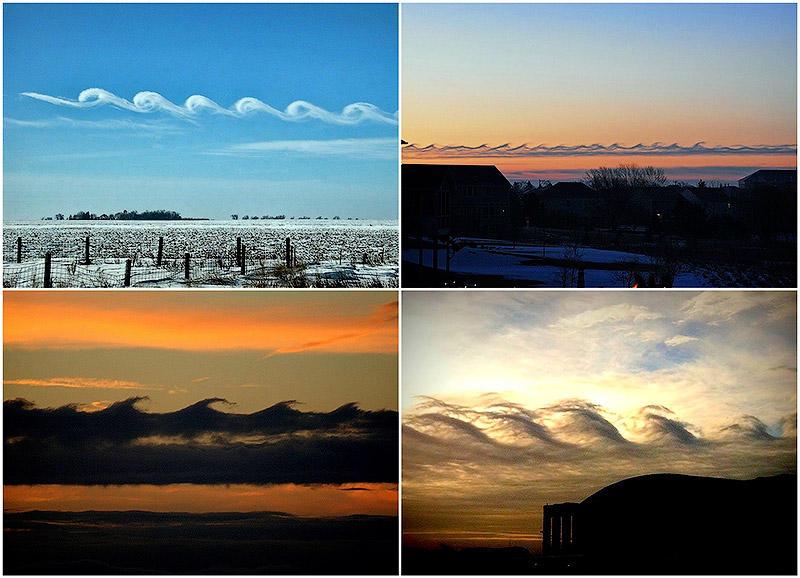 Волноподобные облака Кельвина-Гельмгольца