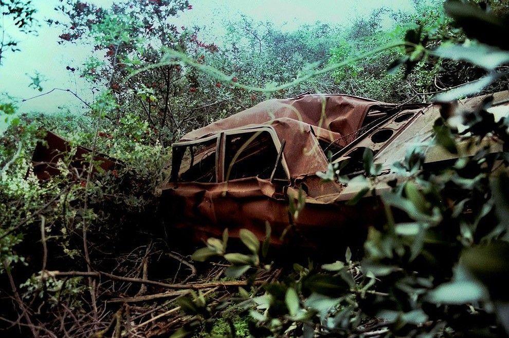 Раритетные автомобили на обрывах шоссе Малхолланд Драйв