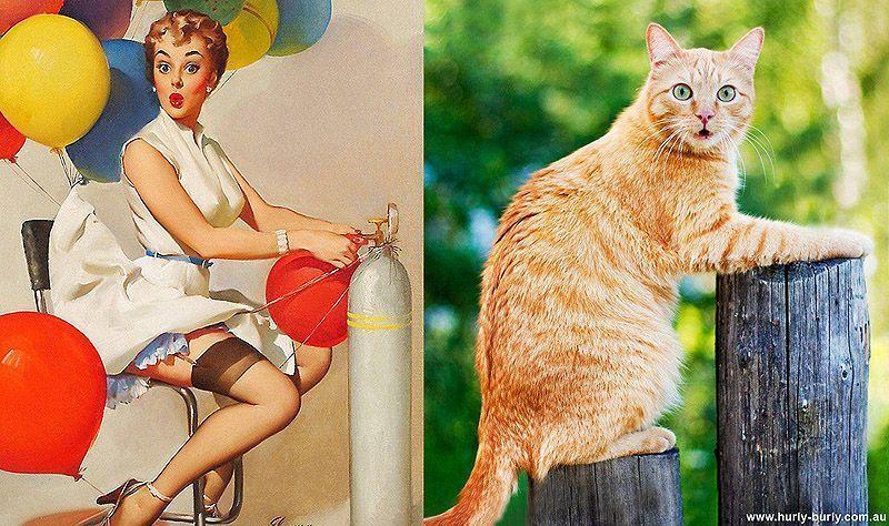 Кошки и девушки в стилепинап