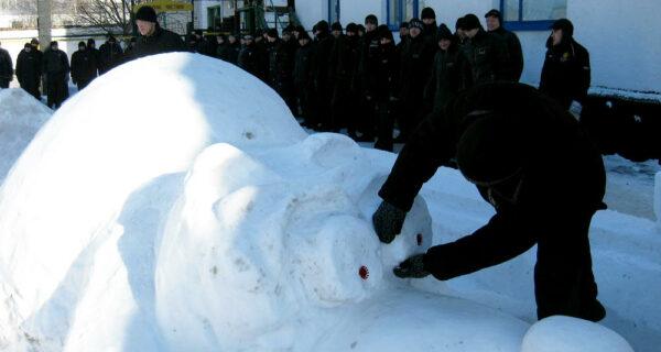 Треш и угар: Снежные скульптуры в колониях Украины