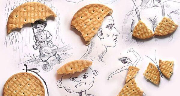 Как выглядят рисунки из еды и подручных предметов