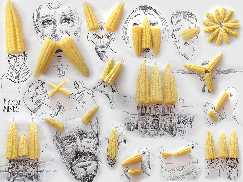 NunesPerez07 Как выглядят рисунки из еды и подручных предметов
