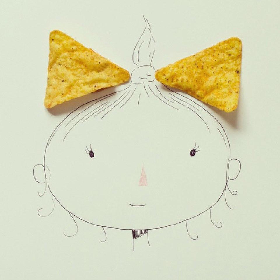 NunesPerez14 Как выглядят рисунки из еды и подручных предметов