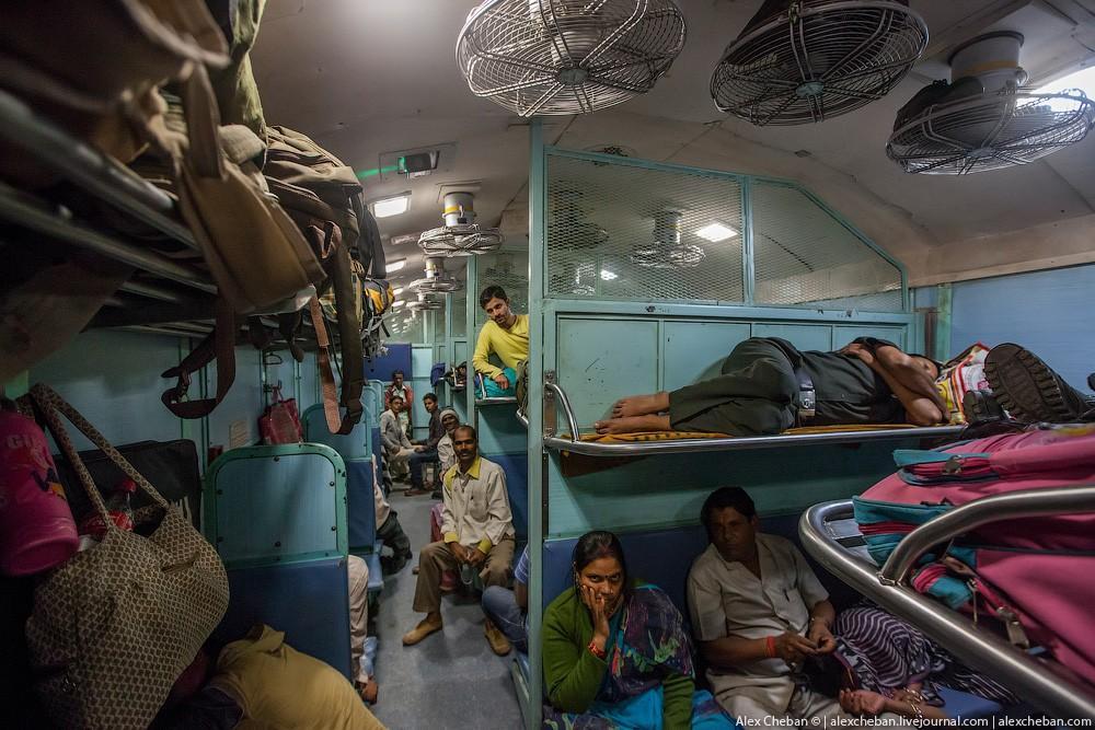 indiantrain15 Общий вагон индийского поезда