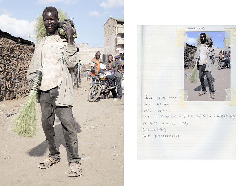 Джош Ньяга, 29 лет. Джош продает веники в трущобах Матхаре. Его заработок 400 шиллингов в день. У него 3 детей.