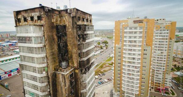 Сгоревший дом в Красноярске