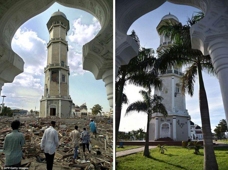 zunami08 10 лет спустя: сравниваем фотографии восстановления Индонезии