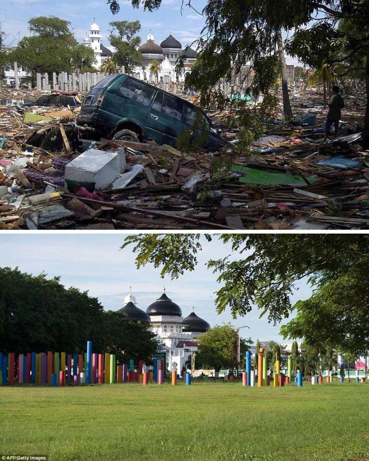 zunami09 10 лет спустя: сравниваем фотографии восстановления Индонезии